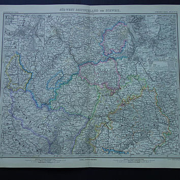 GERMANY old map LARGE 1884 original antique German print poster about Alsace Lorraine Karlsruhe Metz Strassbourg vintage hand-colored maps