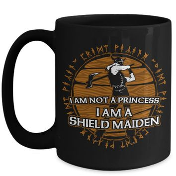 Funny Viking Shield Maiden 11oz or 15oz White or Black Coffee Mug I'm Not A Princess Norse Scandinavian Runes