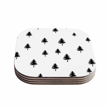 "Suzanne Carter ""Pine Tree"" Black White Coasters (Set of 4)"