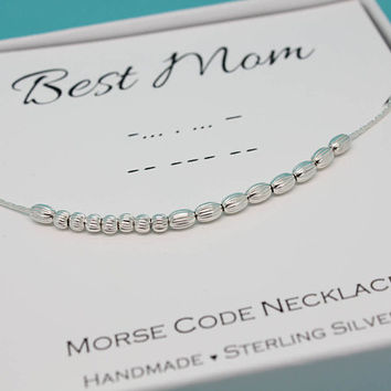 Best Mom necklace, Mother's Day gift for Mom necklace Sterling Silver, Mom jewelry, Morse Code necklace