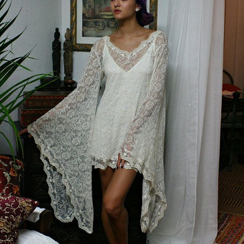 Embroidered Lace Bridal Lingerie Nightgown Dress Wedding Sleepwear Bohemian Dress Bridal Robe  Honeymoon Dress Lace Sleepwear Beach Wedding