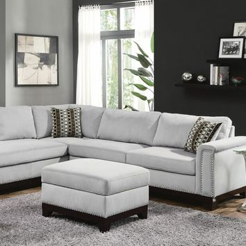 2 pc Mason collection blue grey velvet fabric upholstered sectional sofa with chaise and wood trim base