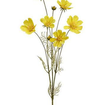 "Artificial Cosmos Flowers in Yellow - 31.5"" Tall"