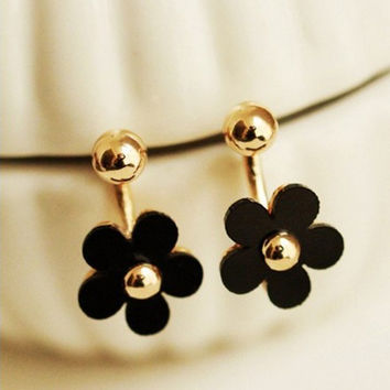 Elegant Charming Small Gold Ball Black Plum Flower Double Sides Dangle Earring Prom Wedding Pressent
