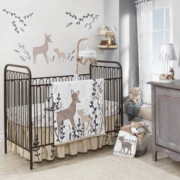 Lambs & Ivy 5 Piece Baby Nursery Crib Bedding Set Meadow with Bumper & Mobile
