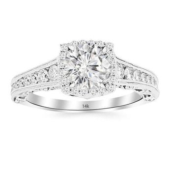 2.25 Carat 14K Gold Vintage Halo Style Channel Set Round Brilliant Diamond Engagement Ring Milgrain with a 1.5 Carat Moissanite Center in Platinum, White, Yellow, Rose Gold (Certified)