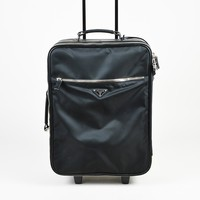 "Prada ""Nero"" Black Nylon & Saffiano Leather Rolling Trolley Bag"