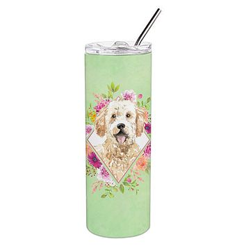 Goldendoodle Green Flowers Double Walled Stainless Steel 20 oz Skinny Tumbler CK4396TBL20