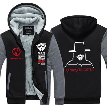 2017  Winter  V for Vendetta Mask Rangers Men hooded Sweatshirts Thicken Zipper hoodies outerwear Jackets  USA EU size Plus size