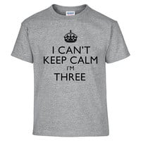 Funny I CAN'T KEEP CALM I'm Three Toddler Tee T-Shirt T Shirt Tees Youth Soft Gift Present 3 Year Old 3rd Happy Birthday Party Present