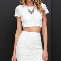 Graceful Dancer Ivory Lace Two-Piece Dress