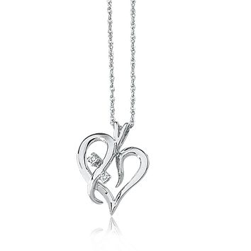 .03 Carat Diamond Heart Necklace in 14k White Gold