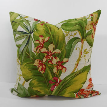 Tommy Bahama Designer Tropical Print Pillow Cover, Decorative Throw Pillow Cushion, Green, 20 x 20