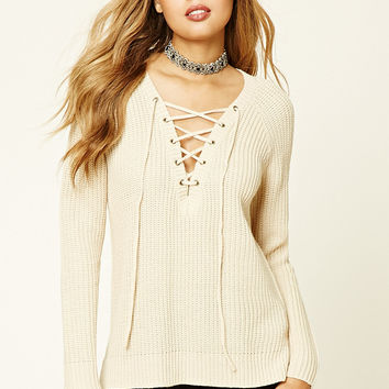 Ribbed Knit Lace-Up Sweater