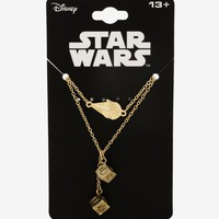 Licensed cool Disney Star Wars Millennium Falcon & Han Solo Dice Charm Layered Necklace NWT