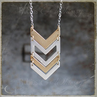 Chevron Necklace in mixed metals, geometric modern style necklace gold and silver by rubiesandwhimsy