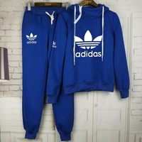 """Adidas"" Print Women Men Fashion Hooded Top Pullover Sweater Hoodie pants Two piece suit Sportswear"