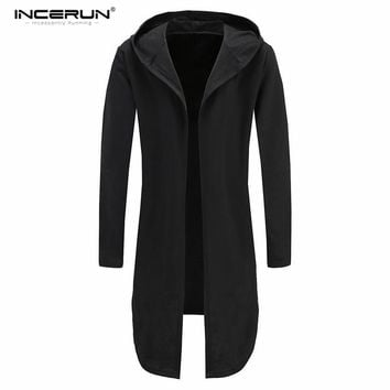 Men Hooded Sweatshirt Leisure Poncho Hoodie Fashion Irregular Hem Long Open Front Coats