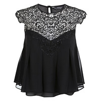 Buy Miss Selfridge Lace Trim Trapeze Top, Assorted | John Lewis