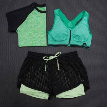 Fashion 3pcs Women's Sports Bras Yoga Fitness Racerback Vest Shorts Set 16