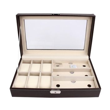 Leather 6 Watch Jewelry Case and 3 Piece Eyeglasses Storage Display Case