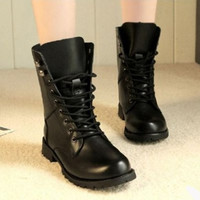 ZUXU 2016 Hot Sale New Style Womens Girls Vintage Combat Army  Ankle PU Leather Shoes Biker Boots