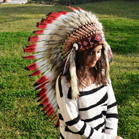 Medium Indian  Red and Black  Feather Headdress   ( 36 inch long )
