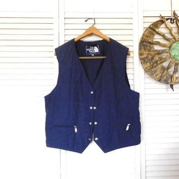 Navy Blue Quilted Vest Size XL North Face Vintage Clothes