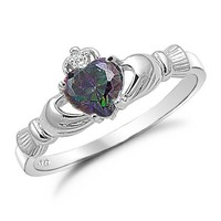 Sterling Silver Claddagh Ring with Simulated Rainbow Topaz