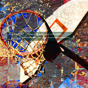 Basketball Wall Print, Color Sports Decor, Gift Idea, Basketball Room Decor, Bedroom Sports Art, Man Cave Decor, Wall Decor, Sports Print