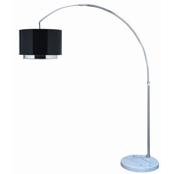 Trend TFA7768-B Paparazzi Arc Floor Lamp with Checkered Prism/Shaded Mirror Two Tier Shade