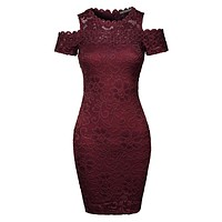 Fitted Floral Lace Cold Shoulder Bodycon Mini Dress (CLEARANCE)