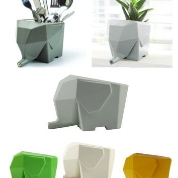 Elephant Cutlery Drainer Planter Storage Box
