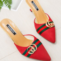 GUCCI New fashion high heels summer pointed sandals shoes Red