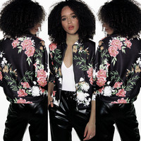 Floral Print Zippered Long Sleeve Jacket