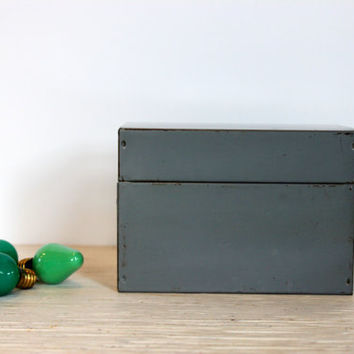 vintage industrial file box dove gray // metal recipe box // 3 x 5 card file // vintage office // urban storage