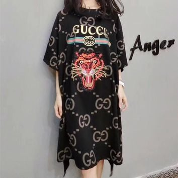 gucci women loose casual personality embroidery sequin tiger head gg letter print short sleeve t shirt dress