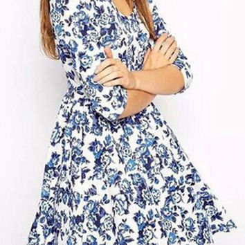 Blue Floral Pleated Round Neck Elegant Polyester Mini Dress