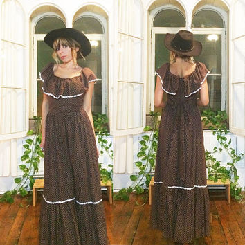 Vintage 1960's 1970's Romantic PRARIE Gunne Sax Style Ruffled Maxi Dress Dress || Polka Dot And Floral || Size XS To Small