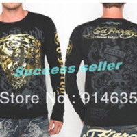 New !!! ED HARDY Men's T-Shirts Black 100% Cotton Full Sleeve O-Neck Printing ed Casual Tee Shirt M L XL XXL Free Shipping