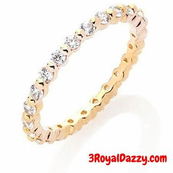14k Y Gold layer on Solid Silver Wedding .75ct CZ Stackable Eternity Wedding Ring Band