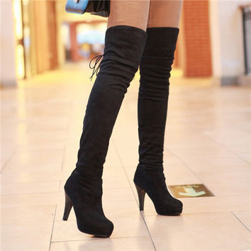 Sexy stretchy High heels Over the Knee boots ladies Shoes Thigh High Boots