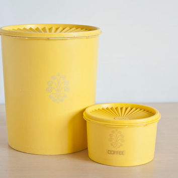 Vintage Sunny Yellow Tupperware Kitchen Canisters, EXTRA Large and Small Storage Containers