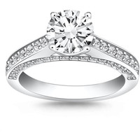 14K WHITE GOLD 1 1/9 CT TW PAVE DIAMOND CATHEDRAL ENGAGEMENT RING