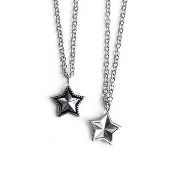 VLXZGW7 Fashion Personality Unisex Retro Five-pointed Stars Pendant Couple Necklace Accessories