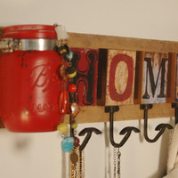 HOME jewelry board or coat rack with 4 hooks and 1 mason jar wall decor