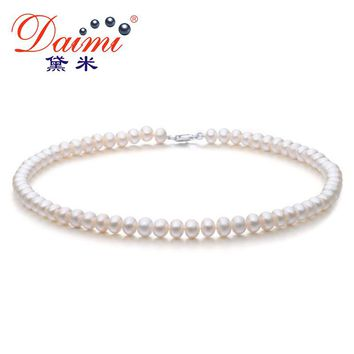 DAIMI 6-7MM Natural Freshwater Pearl Necklace White Pearl Single Necklace For Women Choker Necklace