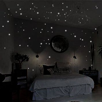 HOT 407pcs Glow in the Round Dot Dark Star Stickers Luminous Vinyl Wall Stickers Like Star In The Night Romantic Party Birthday