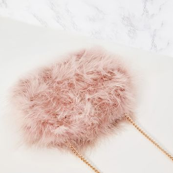 Nude Marabou Feather Clutch Bag