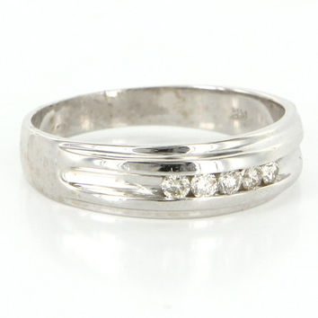 Vintage 14 Karat White Gold Diamond Mens Wedding Band Ring Sz 12 Estate Jewelry